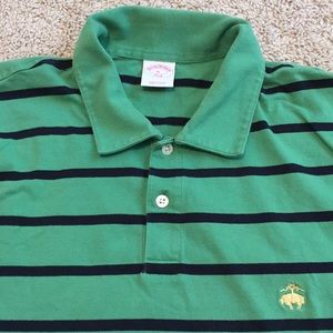 Brooks Brothers polo shirt green navy stripe XL